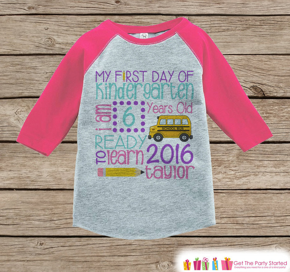 Girls First Day of Kindergarten Outfit - Personalized Kindergarten Stats Shirt - Kids Stats Pink Raglan - Girls My 1st Day of School Outfit - Get The Party Started
