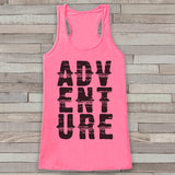 Adventure Tank - Pink Adventure Top - Camping Tank Top - Wilderness Tank Top - Womens Shirt - Outdoors Outfit - Hiking Shirt