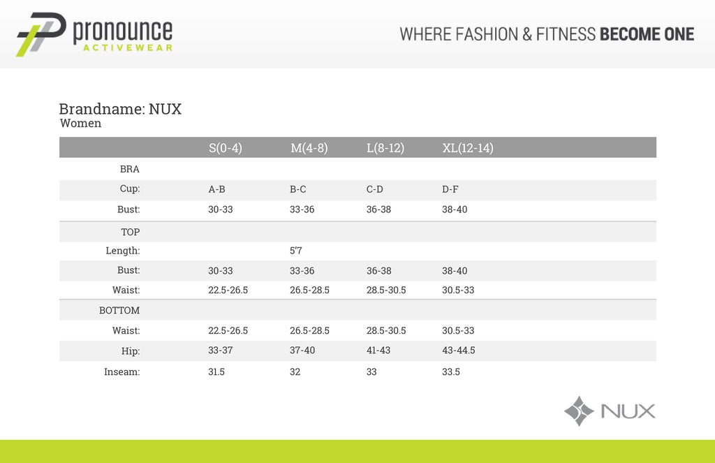 Nux USA Activewear - Size Chart