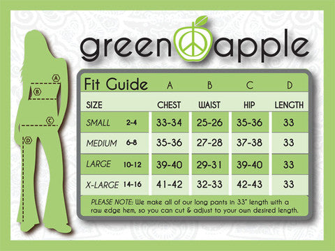 Pronounce Activewear | Green Apple Bamboo Activewear Size Chart