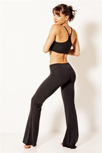 New Bamboo Fitted Yoga Flare in Black, Green Apple Active - Pronounce Activewear