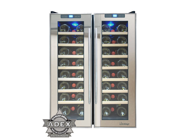 Vinotemp VT-48TSSM-2Z 48-Bottle Dual-Zone Thermoelectric Mirrored ...