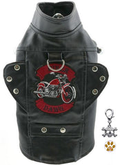 Biker Dawg Motorcycle Harness Jacket and Charm - Color Black for dogs