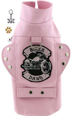 Biker Dawg Motorcycle Harness Jacket with Skull Charm and Button Pin - Color Pink for Dogs