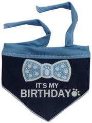 It's My Birthday (Boy) Bandana Scarf with Pin in color Blue/White