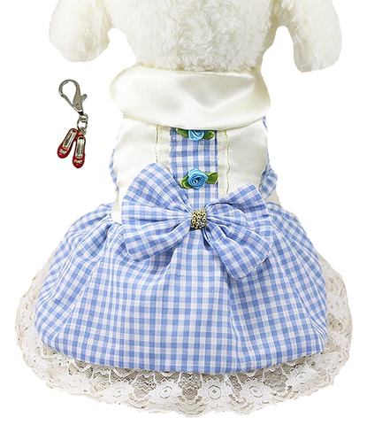 Dorothy Blue White Check Dress with Ruby Slippers Clip Charm