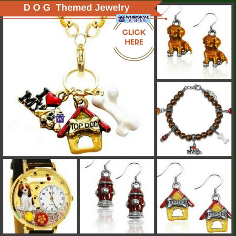 Whimsical Artsy Dog Jewelry earrings necklace bracelet charms for dog lovers