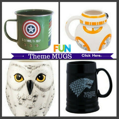 Fun Character Comics Movie Books and TV Themed Mugs for fans of all ages