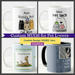 Custom Design Pet themed mugs personalize gifts for dog and cat lovers
