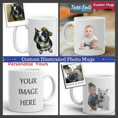 Custom Illustrated Photo Mugs pet and baby themed gifts for pet lovers