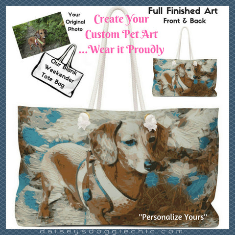 personalize pet photo art full themed weekender tote bags for pet lovers