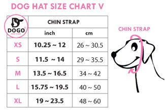 DOGO Hat size chart with sizing guide