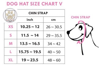 hat size chart for dogo pet hats