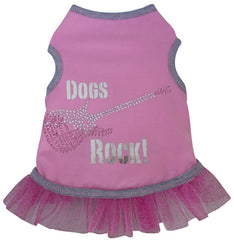 Dogs Rock Themed Metallic Guitar Tank Dress in color Pink/Silver for Dogs