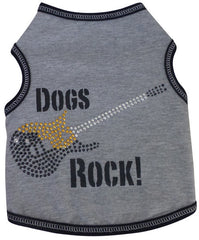 Dogs Rock Themed Guitar Tank in color Gray/Black for Dogs