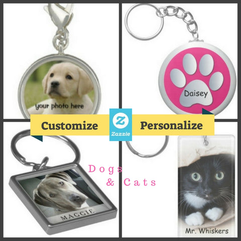 Customize Personalize Dog Cat jewelry key chains and pendants for pet lovers