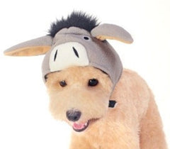 Plush Gray Donkey Hat with Floppy Ears for Dogs