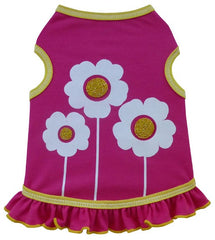 Happy Flowers Skirted Tank Dress in color Hot Pink for dogs
