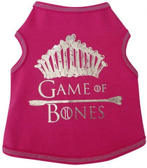 Game of Bones Themed Tank in color Pink/SIlver for dogs