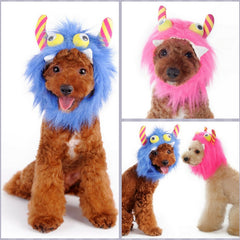 Furry Monster Hat for Dogs in 2 Colors Pink or Blue