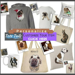 Tote Tails custom personalized illustrated pet theme totes mugs pillows baby adult apparel gifts