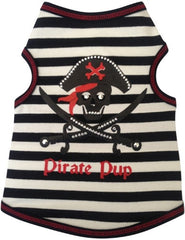 Pirate Pup Tank Shirt in color Black/Red for dogs