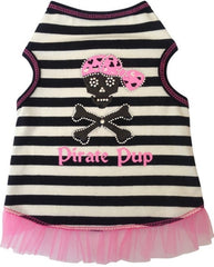 Pirate Pup Ruffled Tank Dress in color Pink/Black for dogs