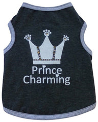Prince Charming Jeweled Crown Tank Tee in color Charcoal Gray for dogs
