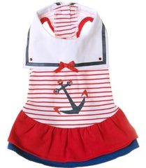 Sweet Sailor Ruffle Skirted Tank Dress in Nautical Red for dogs