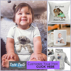 Tote Tails custom personalized illustrated baby child pet theme totes mugs pillows apparel gifts
