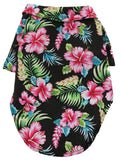 camp shirt for dogs in color Hawaiian Black Floral