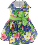 Blue Hawaiian Hibiscus Floral Party Dress with charm and leash for dogs