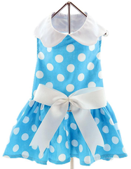 Blue Polka Dots Harness Party Dress with matching Leash set in Blue/White