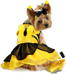Bumblebee Winged Fairy Costume Dress with Antennae and Leash for dogs