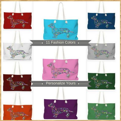 Dachshund Weekender Tote Bags for pet lovers customize and personalize