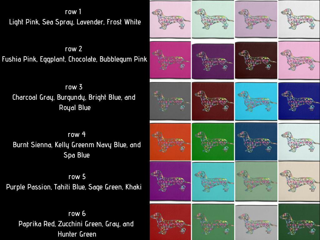 Color Chart for Laptop Cases Tote Bags and personalized gifts for pet lovers