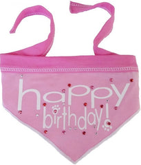 Happy Birthday (Girl) Jeweled Bandana Scarf in Pink