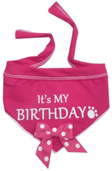 It's My Birthday (Girl) Bandana Scarf with Pin in color Pink/White
