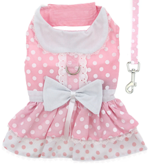 Pink Polka Dots & Bows Harness Party Dress with matching Leash set in Pink/White