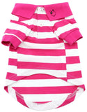 Pink Striped Polo Shirt for Dogs