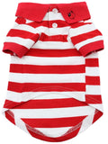 Red Striped Polo Shirt for Dogs