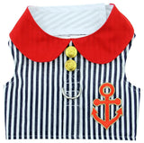 Sailor Harness Vest with Charm and matching Leash - Red White and Blue Nautical Stripe