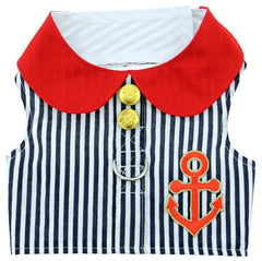 Sailor Harness Vest with Charm and matching Leash - Red White and Blue Nautical Stripe for dogs