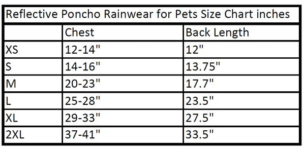 reflcetive poncho rainwear for pets 6 colors size chart