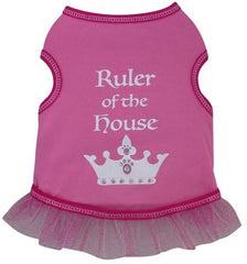 Ruler of The House Dog's Ruffled Tank Top in color Pink for dogs