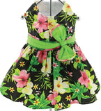 Black Hawaiian Hibiscus Floral Party Dress with charm and leash for dogs