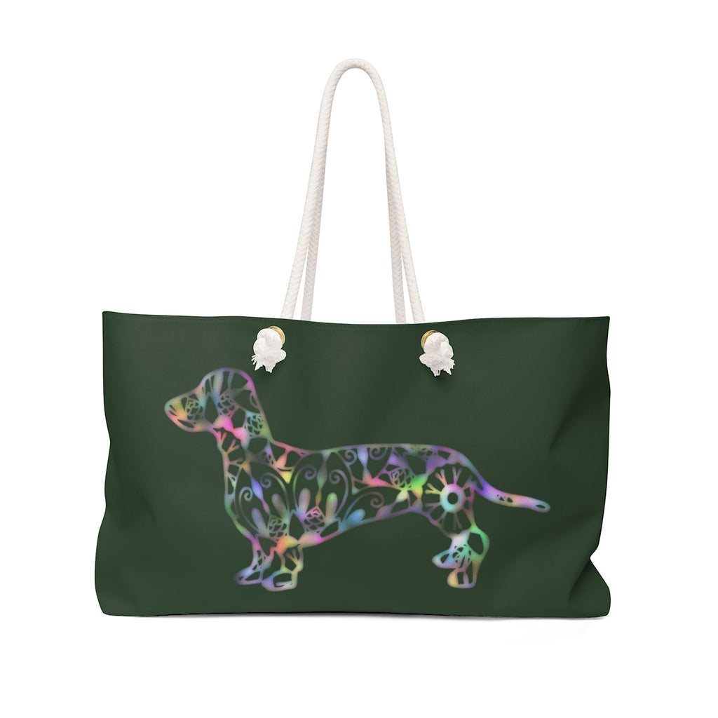 A Dachshund Weekender Bag - Color Hunter Green  - Oversized Tote – Free Personalization - Daisey's Doggie Chic