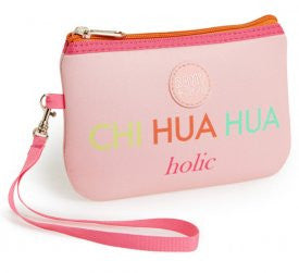 "Romy & Jacob ""Chi-hua-hua holic"" Designer Wristlet Make-up Clutch Bag/Purse in Pink Multi - Daisey's Doggie Chic"