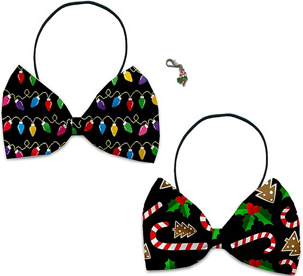 Old Fashioned Christmas - Holiday Themed Bowtie 2-Pack set with Charm Accessory for Dogs or Cats - Daisey's Doggie Chic