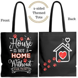 Carryall Tote Bag - House not a Home Without Paw Prints - 2-sided theme  - in Sizes S,M, L - Black - Personalize it Free - Daisey's Doggie Chic